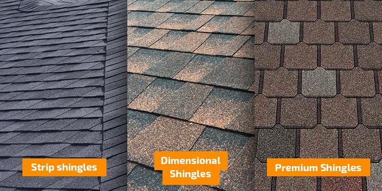 Three types of asphalt shingles: strip, dimensional, premium