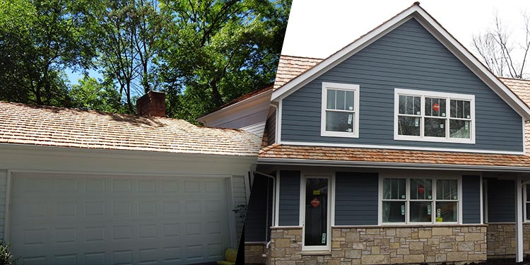 House photo before after cedar shake roof replacement