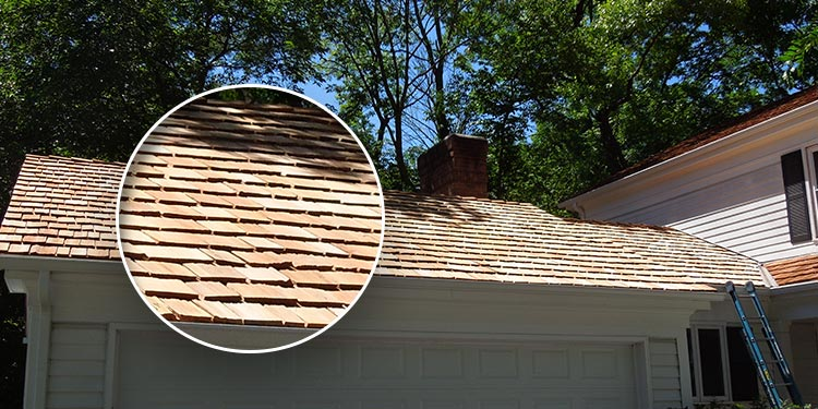 House photo after cedar shake roofing maintenance