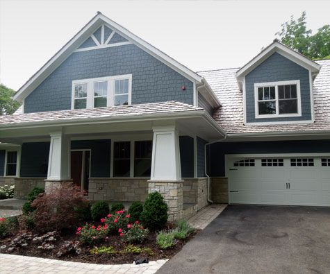 Vinyl siding house with the new exterior after siding installation in Naperville