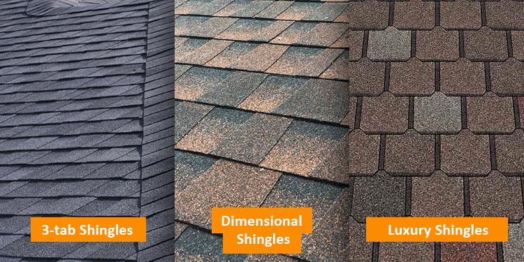 Types of asphalt shingle roof: three-tab shingles, dimensional shingle, luxury asphalt shingles