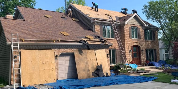 shingle roof replacement after hail damage naperville