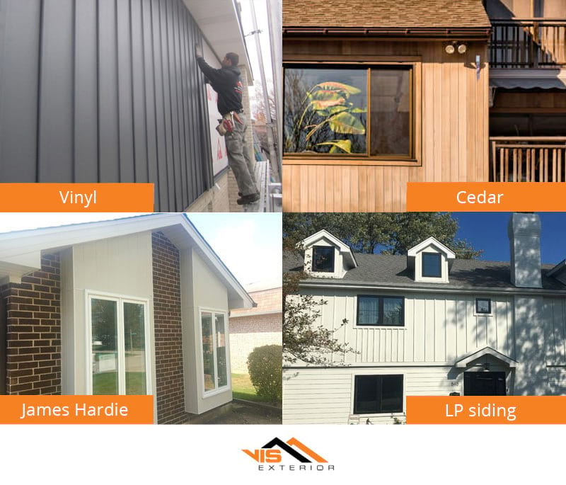 Vertical siding houses with different types materials: vinyl, cedar, James Hardie, LP Smart