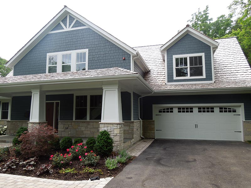 Family house after fiber cement siding installation with James Hardie siding products in Naperville