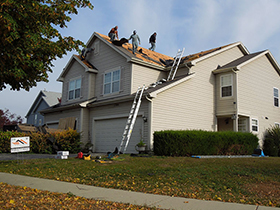 Roof replacement after hail damage in Naperville