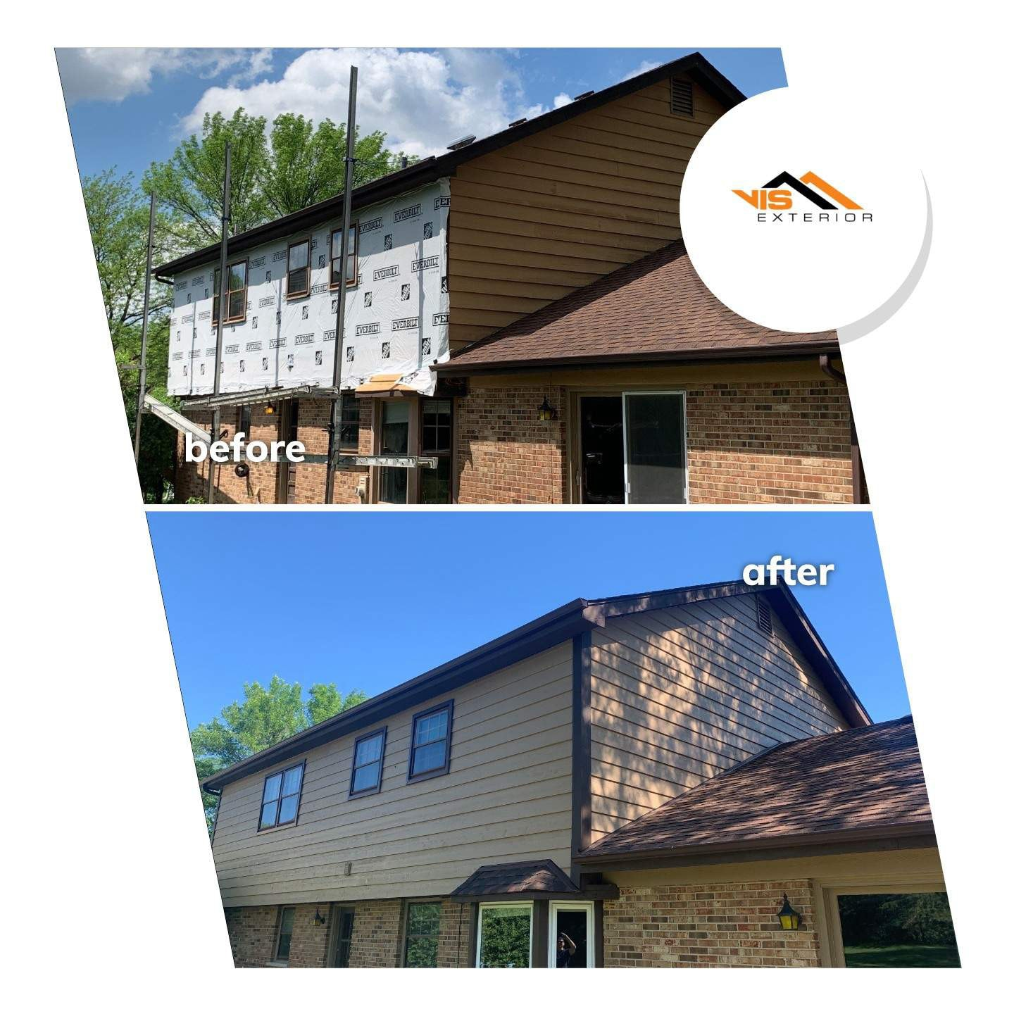 Cedar siding installation and windows replacement in Oak Brook before after project photo