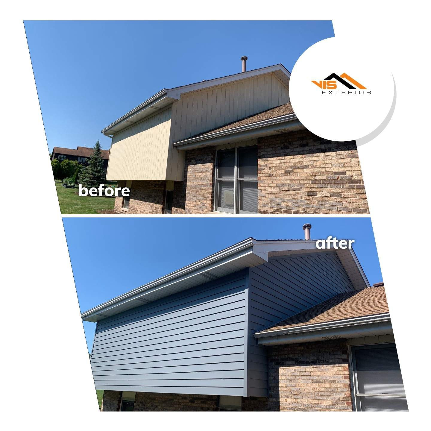 Royal vinyl Insulated & Shake and Shingles siding installation in Lemont before after project photo