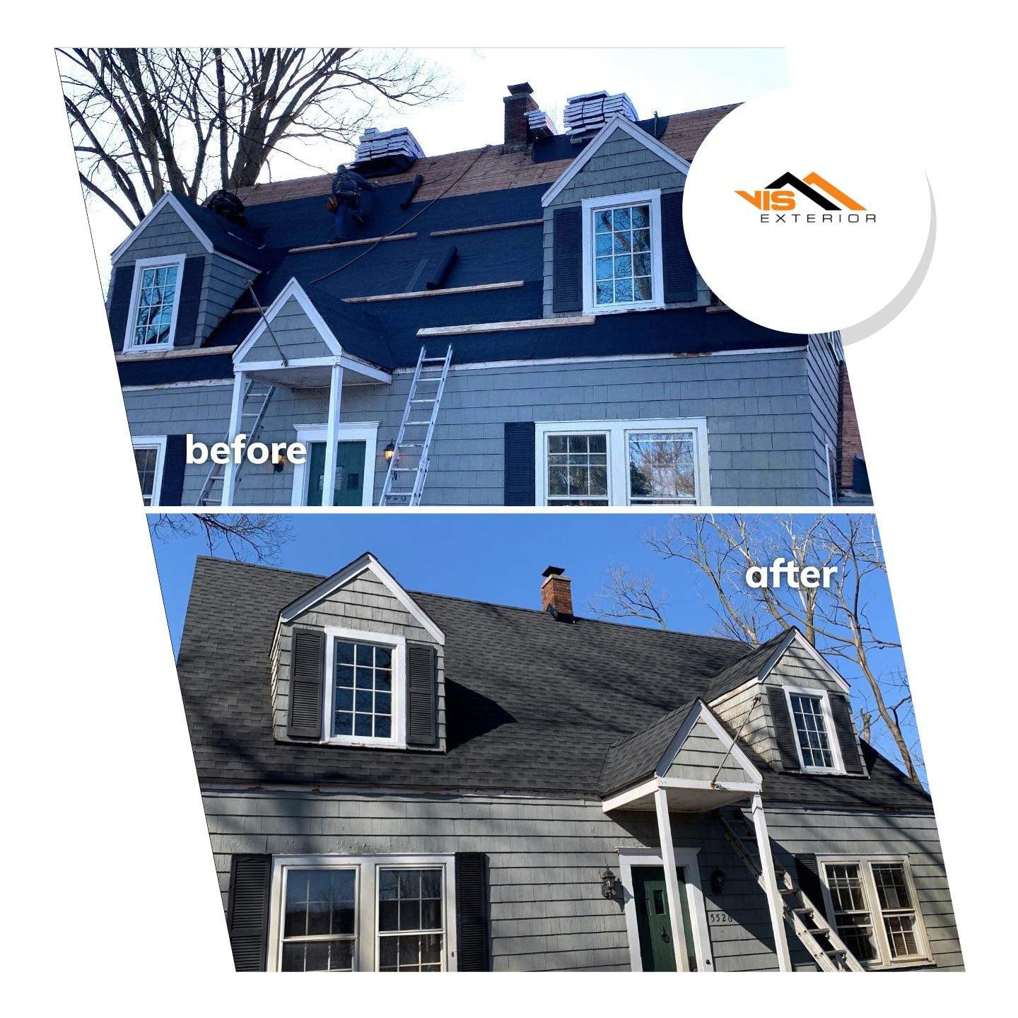 Shingle roof replacement in Clarendon Hills before after project photo