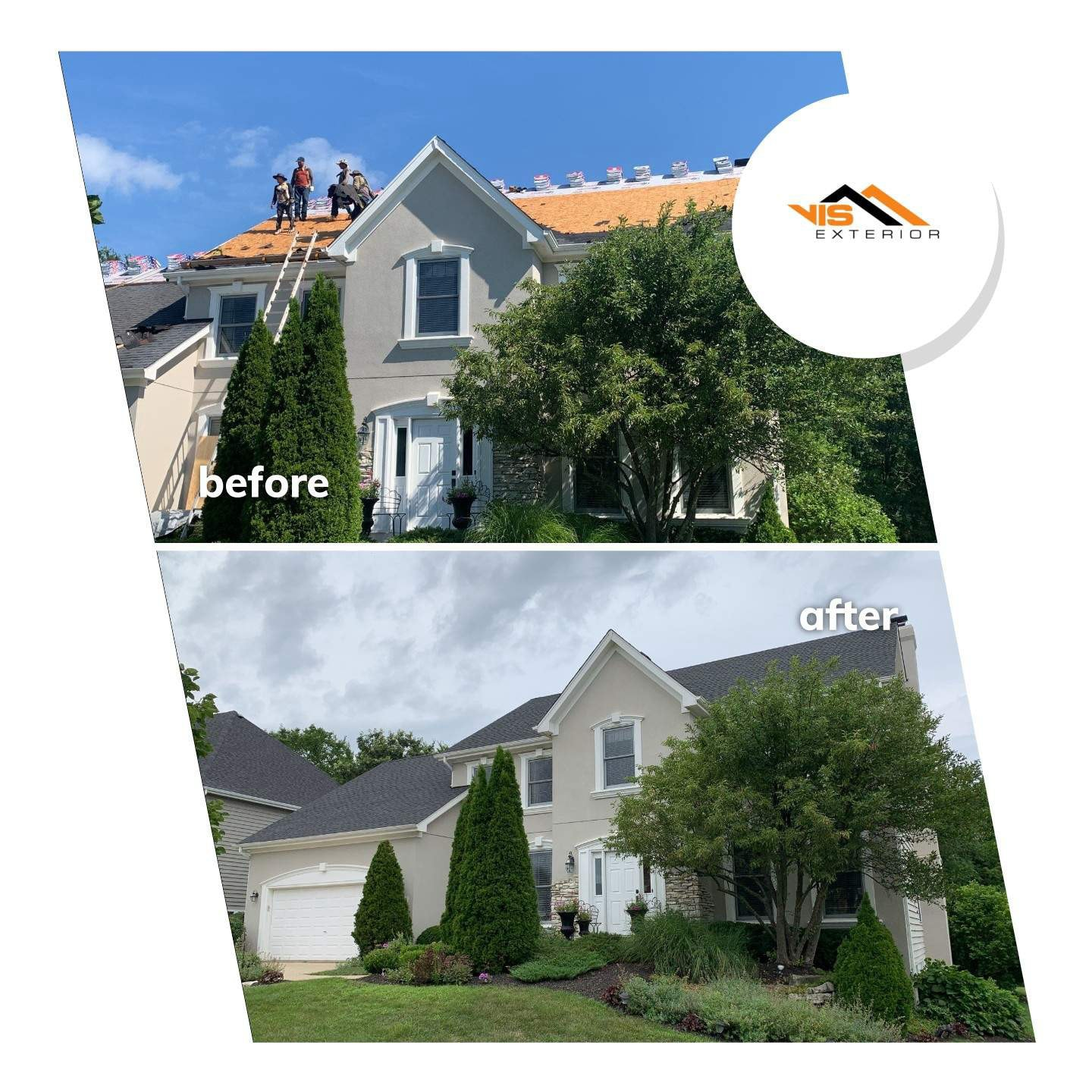 Shingle roof replacement in Willow Springs before after project photo