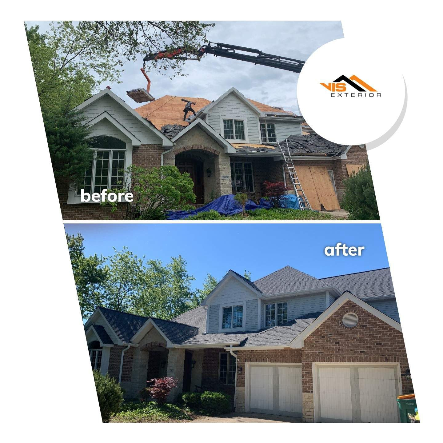 Shingle roof replacement in Willowbrook before after project photo