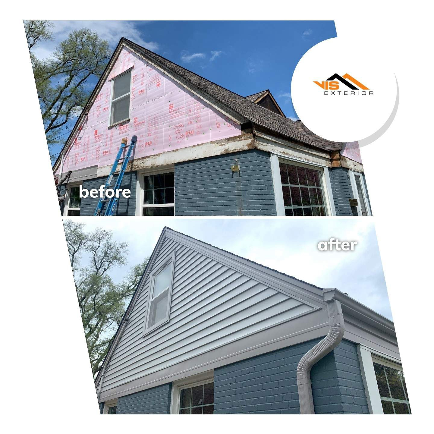 Vinyl siding installation and shingle roof replacement in Clarendon Hills before after project photo