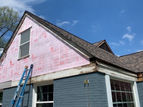 Vinyl siding installation and shingle roof replacement after hail damage in Clarendon Hills project photo 7
