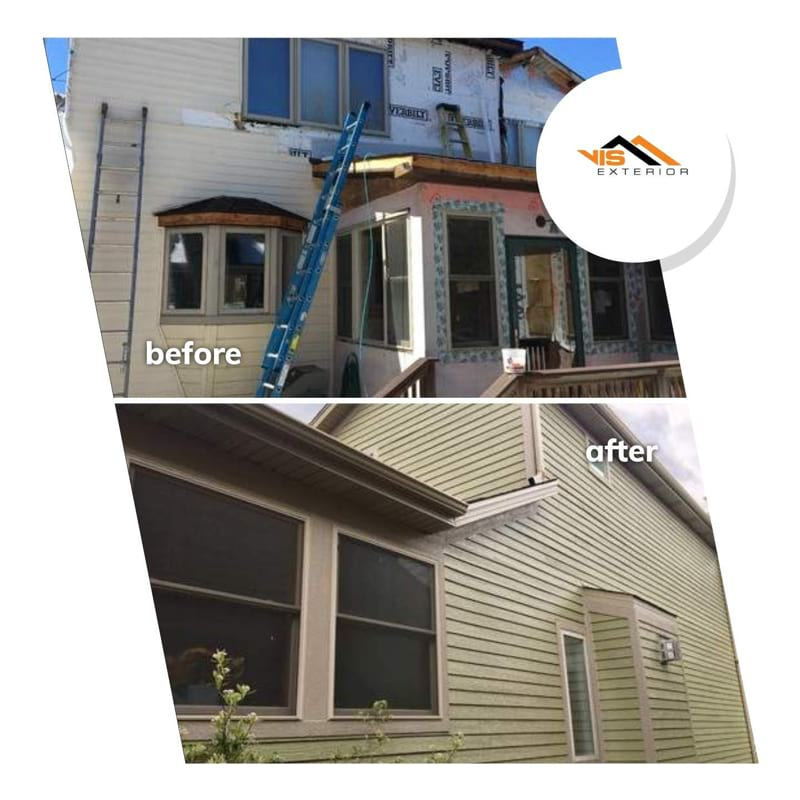 LP SmartSide siding and gutters replacement in Downers Grove before after project photo 2