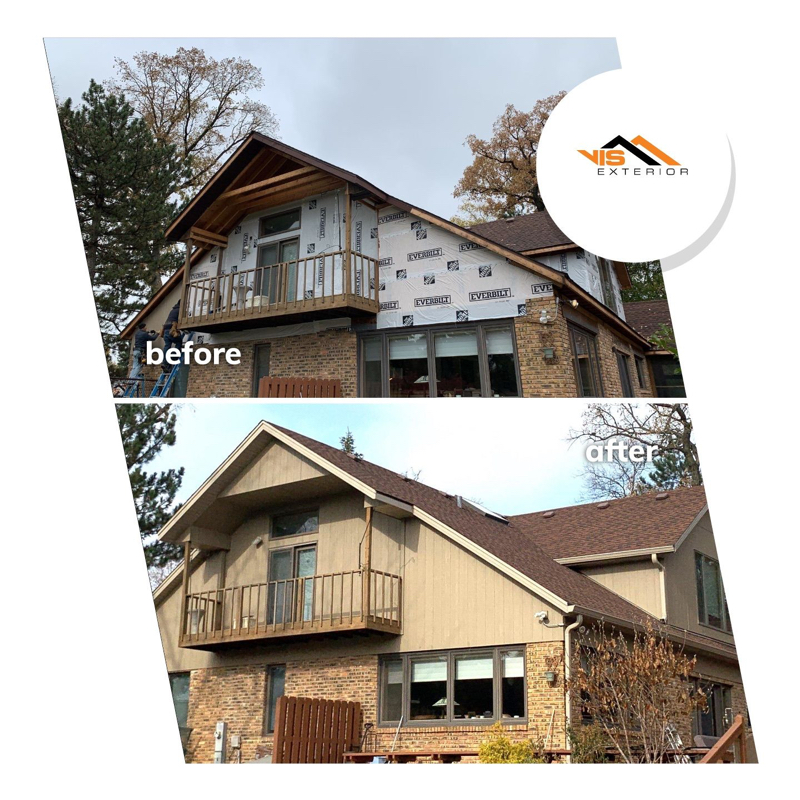LP SmartSide siding replacement in Oak Brook before after project photo 1