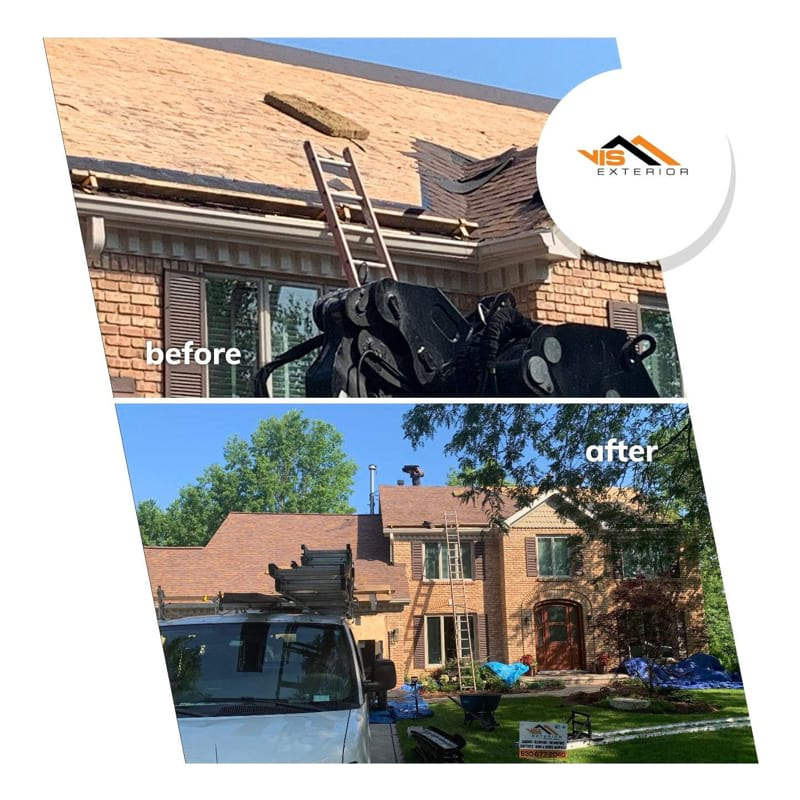 Shingle roofing replacement after hail damage in Naperville before after project photo 1