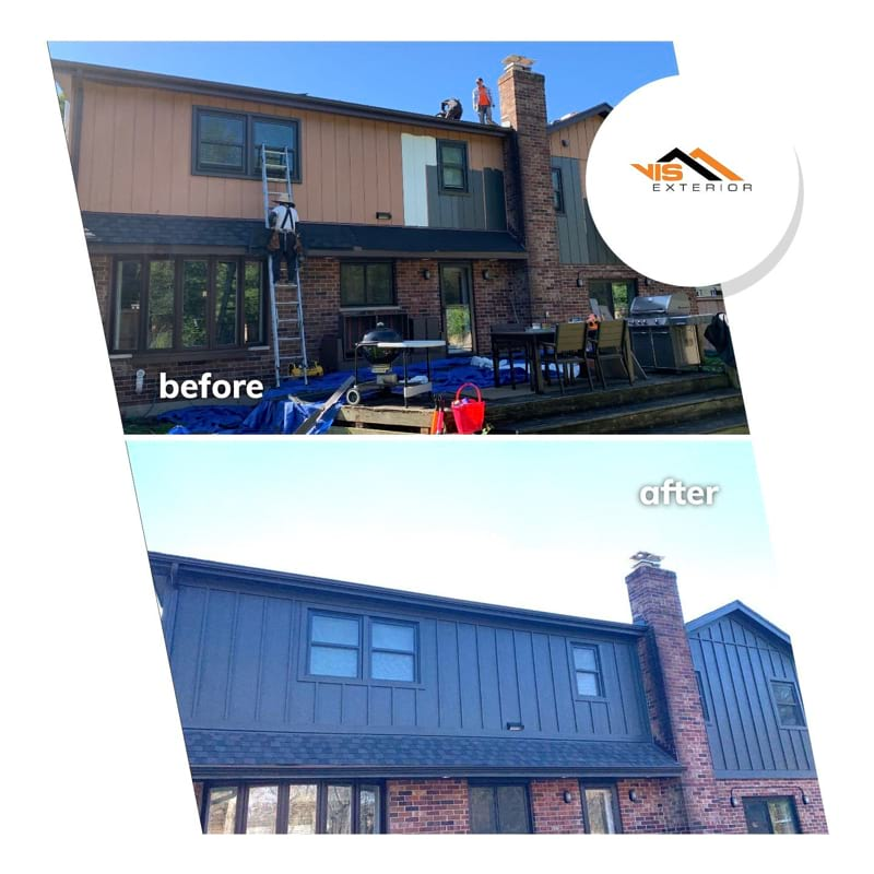 LP SmartSide siding and roof replacement in Downers Grove before after project photo 1
