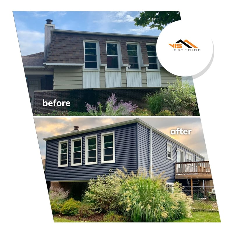 New vinyl siding installation in Bolingbrook before after project photo 1