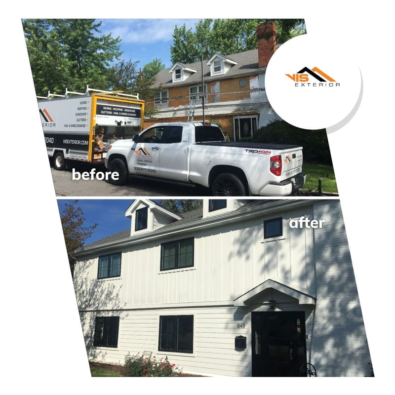 LP SmartSide siding and windows replacement in Hinsdale before after project photo 1
