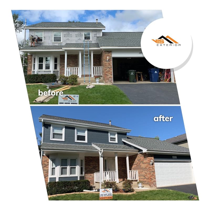 Full exterior remodeling vinyl siding installation shingle roof replacement in Naperville project photo 1